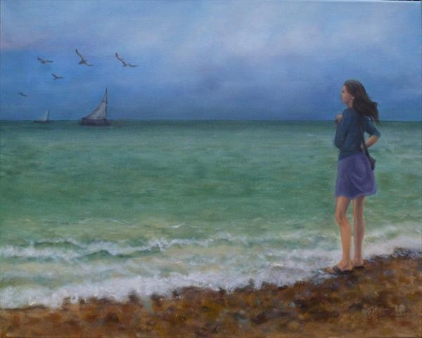 Girl on the Beach Seascape by Jane Moore