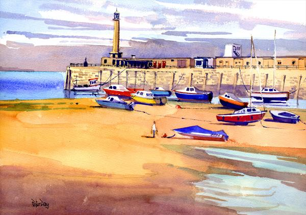 Margate Harbour & Jetty, Incoming Tide. Boats, Beach & Sea by Peter Day