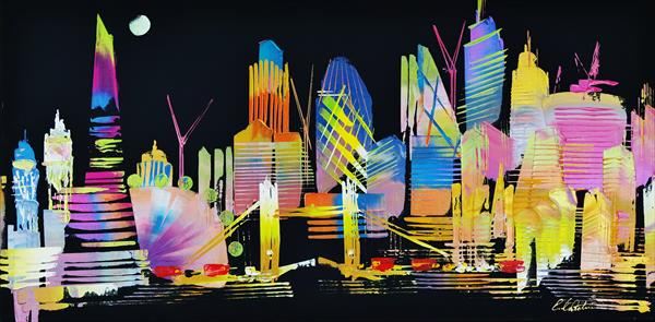 City of London Night Skyline abstract painting 957 by Eraclis Aristidou