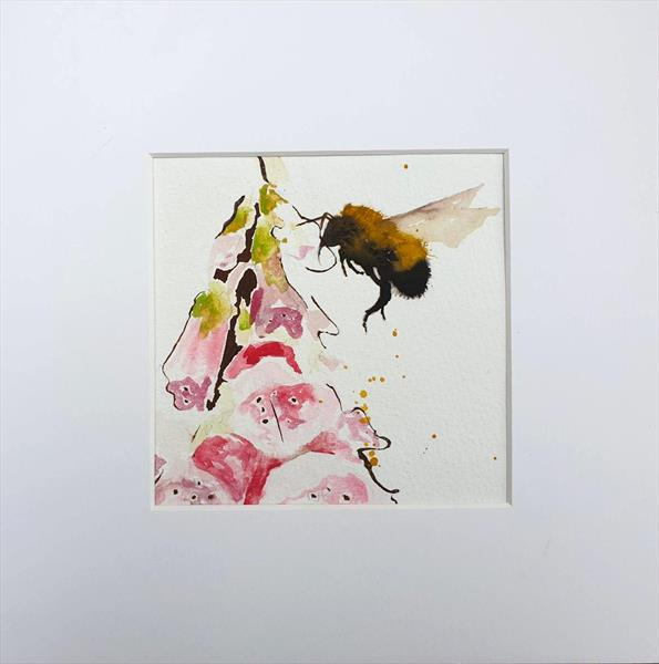 Bumble Bee & Foxglove Flower by Teresa Tanner