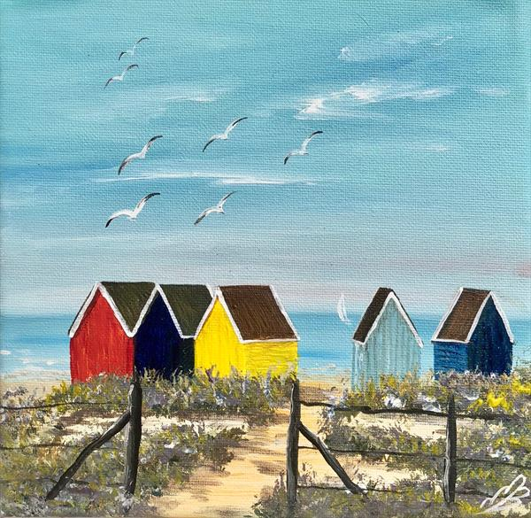 Beach huts on the beach by Marja Brown