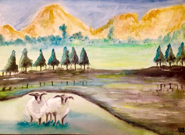 Sheeps in pasture 2 by Anushree Mish