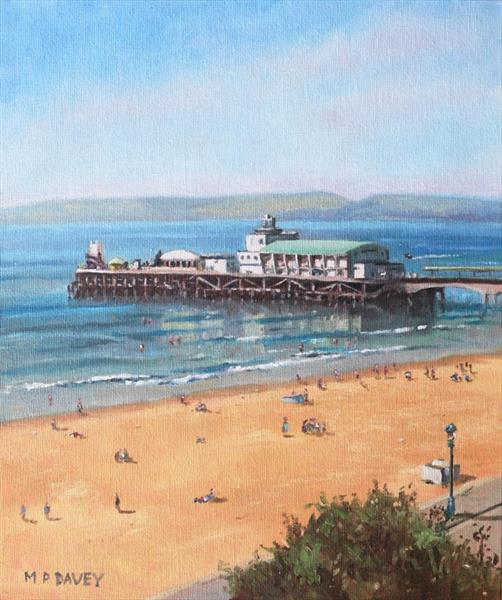 Bournemouth Pier summer morning from cliff top by Martin  Davey