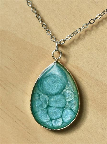Unique Turquoise Resin Necklace No.2 by Miranda Net