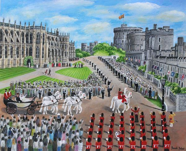 Prince Harry and Meghan's Royal Wedding Procession - Windsor Castle by Ronald Haber