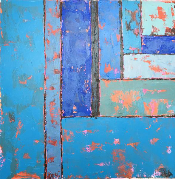 Recession - blue abstract by Louise Gillard