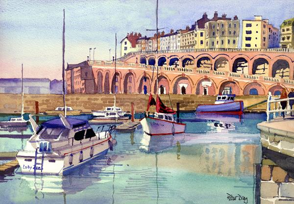 Ramsgate, Royal Harbour, Kent. Arches and boats. Marina and sea by Peter Day