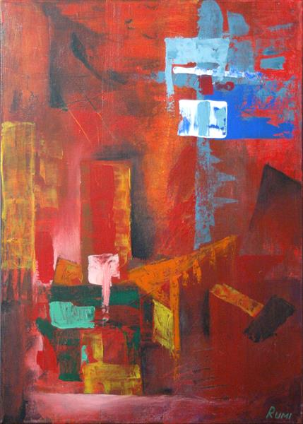 """Composition in red XXVII"". Acrylic abstract painting."