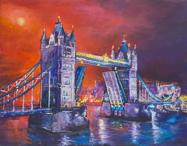 Tower Bridge With Red Sunset  by Patricia Clements