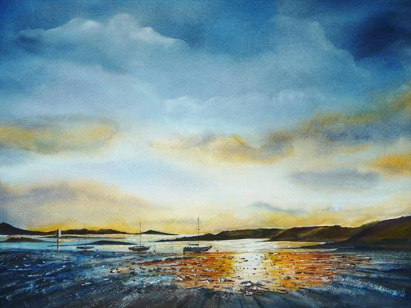 Shoreline Late Sunset by Gill Michael