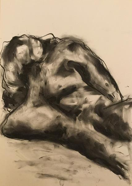 Dreams - Original Charcoal Nude Drawing by James Shipton