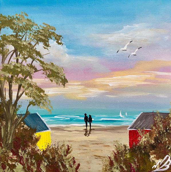 Beach Huts in a Cove by Marja Brown