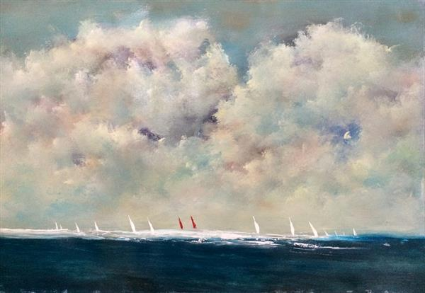 Red Sails Painted Skies ~  Impressionist Seascape On Card 24