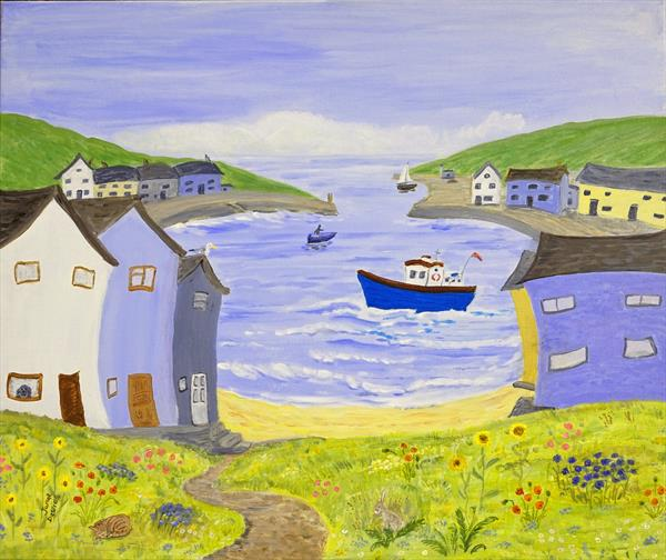 Berty Boat In The Bay by Janet Davies