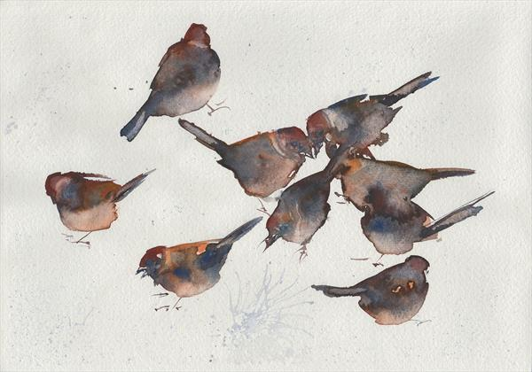 Image result for abstract art winter songbirds