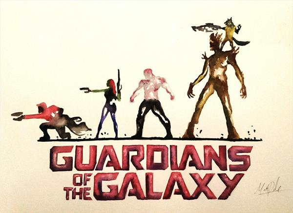 Marvel Guardians of the Galaxy Watercolour Painting by Matt Dale
