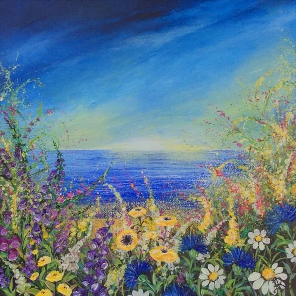 Sky Blue with Flora by Janice  Rogers