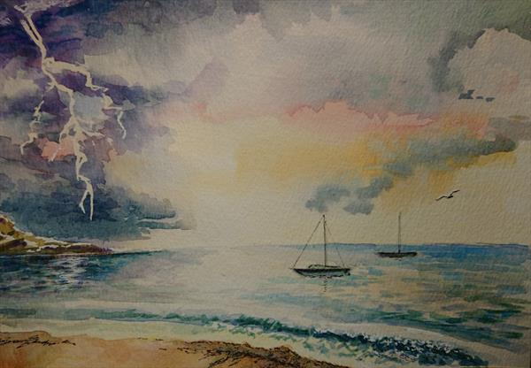 Holiday Sunset and Storm Beach waves A4 Artist watercolour paper Winsor & Newton by Elena Haines