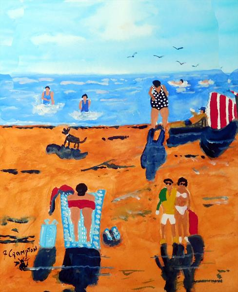 A Beach Scene  UNFRAMED by Frank Crompton