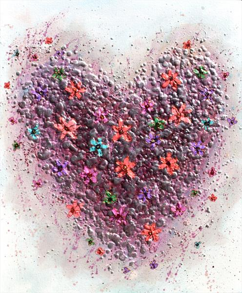 Floral Pink Heart by Amanda Dagg