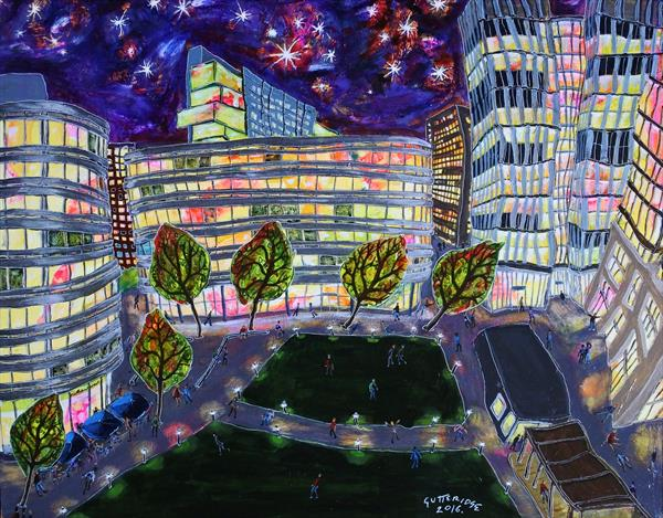 Spinningfields, Manchester, at Night by Michael  Gutteridge