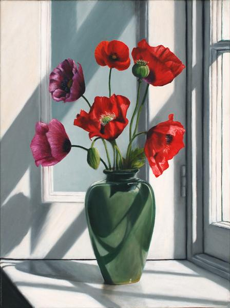 Poppies and Green Vase by Andrew Mcneile Jones
