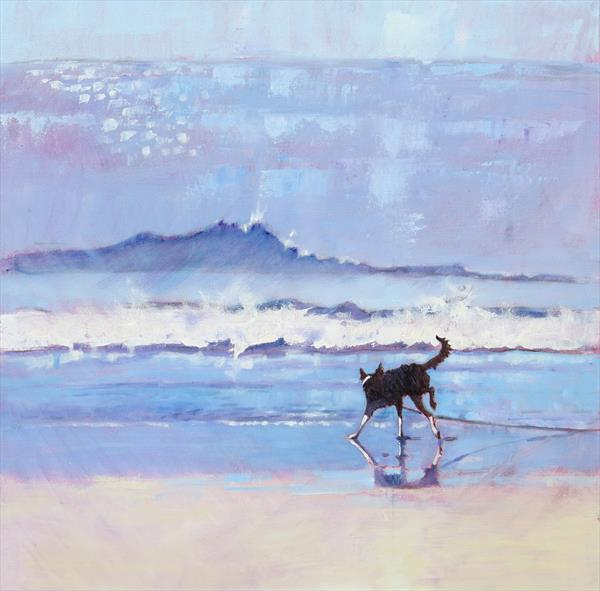 Grace the Border Collie Encounters a Wave by Mary Kemp