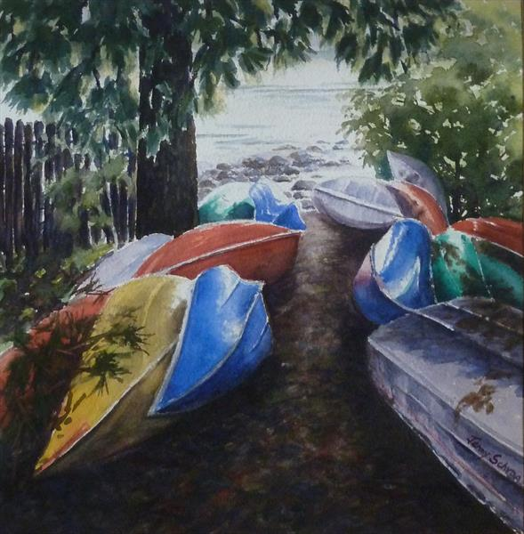 Kayaks and canoes by Jenny Schrag