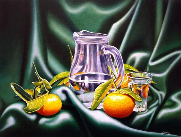 Clementines with glass carafe by Jean-pierre Walter