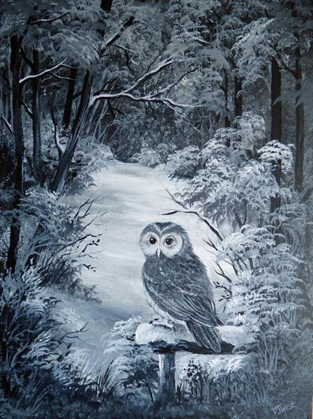 Owl in the Snow, Acrylic painting by Pamela West