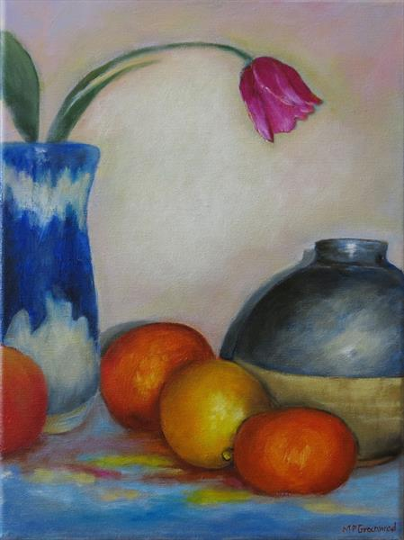 Pots and fruit by Maureen Greenwood