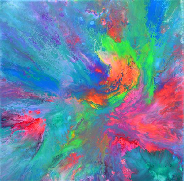 The Forest Song 5 - Abstract Fluid Painting by Soos Tiberiu - Anton