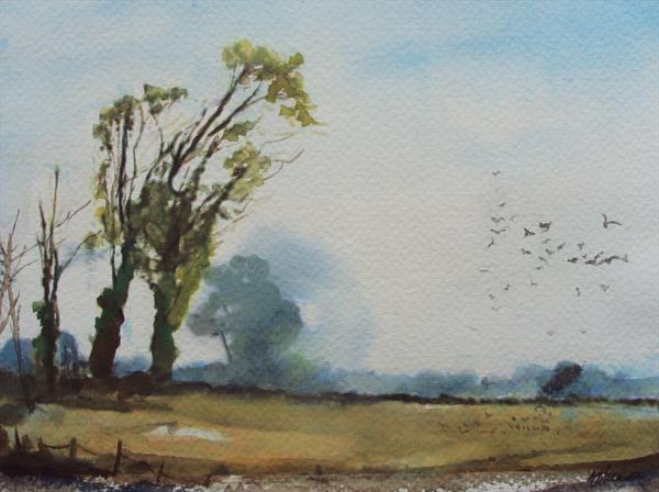 Tree landscape with birds by Teresa Tanner