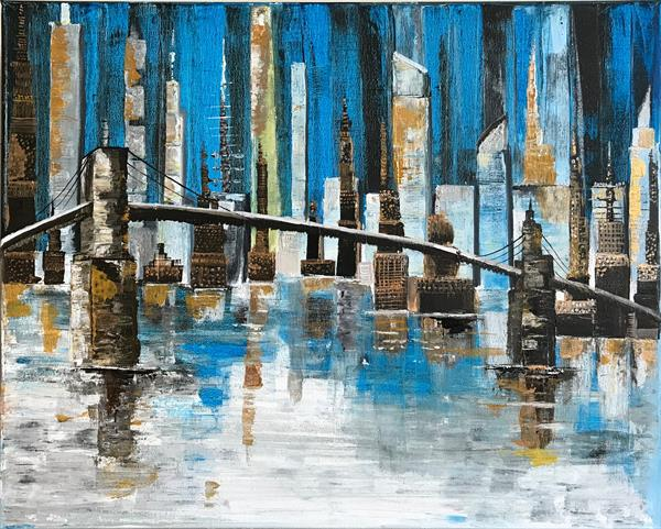 Busy city Abstract Painting by  Rizna  Munsif