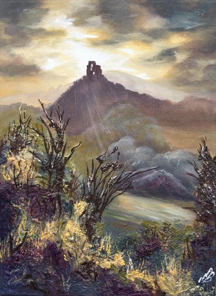 Corfe Castle on a textured canvas by Marja Brown