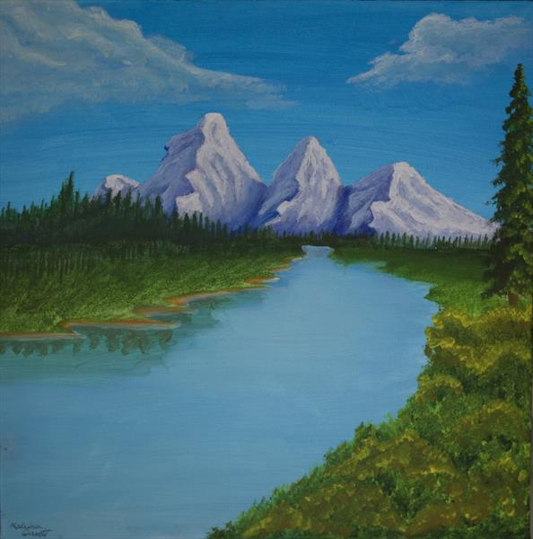 Mountains and a river by Malwina Garrett