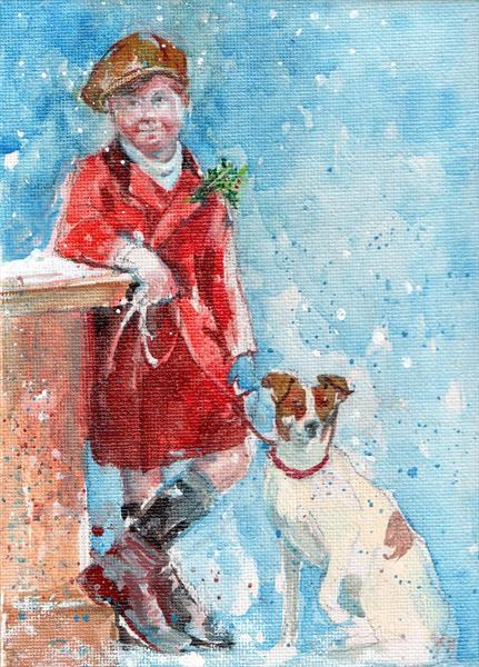 Victorian Boy and His Dog in the Snow
