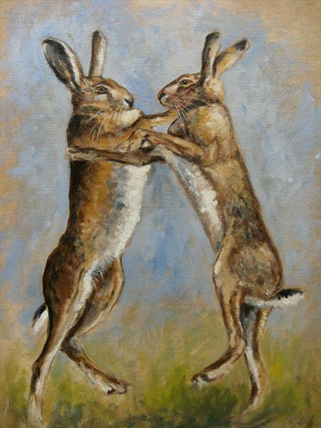 Boxing Hares by Wendy Sabine