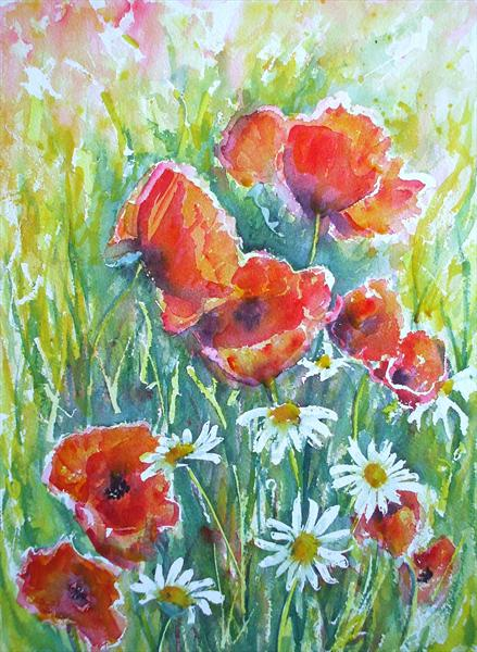 Poppies and Daisies by Maureen Crofts