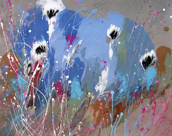 """Splashes"" #2 Original abstract painting on paper"