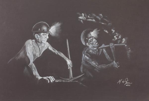 Welsh miners on the coal face by Mike Isaac