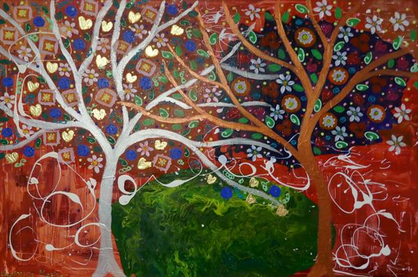 The Colourful Yin and Yang Trees by Casimira Mostyn