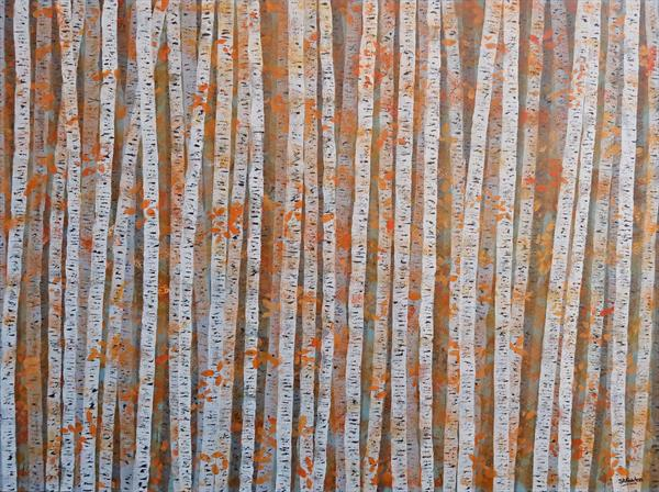 Silver Birch Autumn Colours by Simon Fairless
