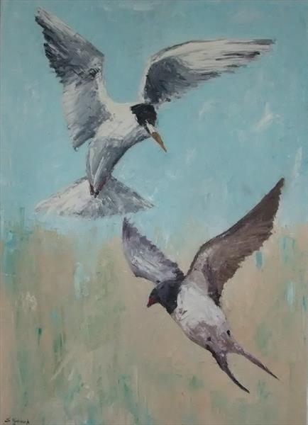 Tern and Swallow  by Sandra Hanisch