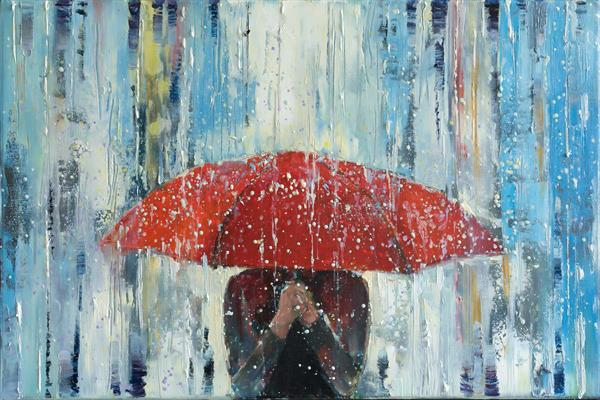 'Behind Red Umbrella'  by Eva Czarniecka