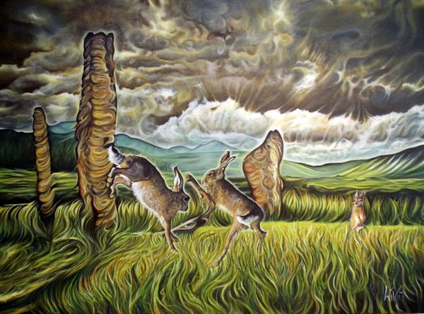 Boxing Hares Machrie Moor Standing Stones by Livi Maylin
