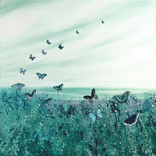 Butterfly Turquoise Meadow by Linda Tennant