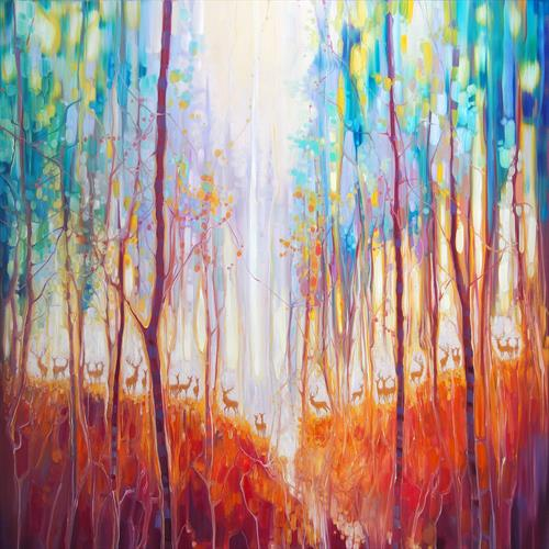 Forest Souls - an autumn forest with deer by Gill Bustamante