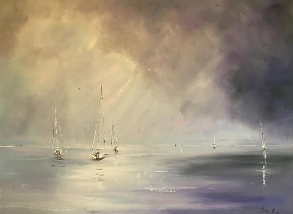 Sails against a lilac sky  by Pippa Buist