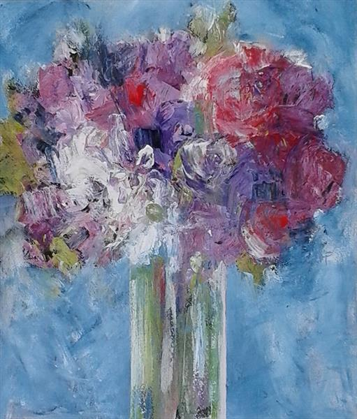 Mixed Flowers on Blue II by Jan Rippingham